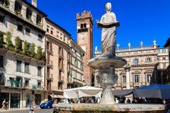 Piazza delle Erbe fontana madonna, Verona, Veneto, Italy stock photos