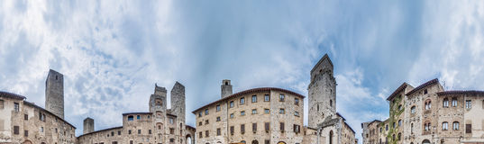 Piazza delle Erbe in San Gimignano, Italy Royalty Free Stock Images