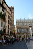 Piazza Delle Erbe square in Verona, Italy. Royalty Free Stock Photos