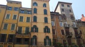 Piazza delle Erbe, Verona. Ancient buildings looking like decorations, Verona, Italy Royalty Free Stock Photos