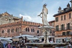 Piazza delle Erbe, Verona, Italy, Europe. Piazza delle Erbe, the market square, Verona, Italy, Europe.nPhoto taken on: August, 2014 Stock Image