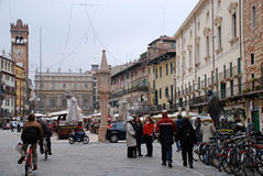Piazza delle Erbe in Verona, Italy. Royalty Free Stock Images