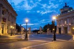 Piazza di Campidoglio在罗马在晚上 图库摄影