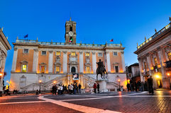 Piazza di Campidoglio, Rome. The Capitol in Rome. This picture shows the Piazza di Campidoglio by night. The Palace in the centre is the Palazzo Senatorio Stock Photo