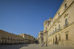 Piazza di duomo in syracuse, sicily, italy Stock Photos