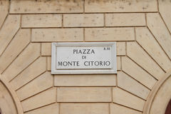 Piazza di Monte Citorio street plate, Rome, Italy Royalty Free Stock Photo