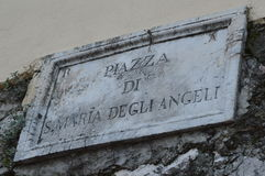 Piazza di S Maria degliangelöss undertecknar, Palestrina, Lazio, Italien Fotografering för Bildbyråer