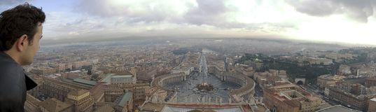 Piazza di San Pietro. Panoramic view over Saint Peters Square, Rome, December 2004 royalty free stock image