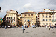 Piazza di Santa Croce in Florence stock photography
