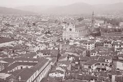 Piazza di Santa Croce Square and Church in Florence Stock Photography