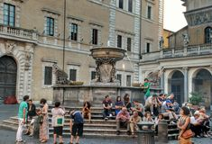 Piazza di Santa Maria in Trastevere, Rome Italy Stock Photography