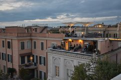 Piazza di Spagna, city, town, sky, urban area. Piazza di Spagna is city, urban area and neighbourhood. That marvel has town, residential area and building and stock image