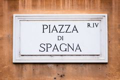 Piazza di Spagna gatatecken på väggen i Rome, Italien arkivbilder