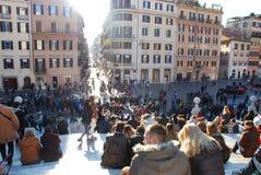 Piazza Di Spagna, hiszpańszczyzna kroki, tłum, ludzie, miasto, teren publiczny Obrazy Royalty Free
