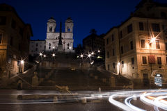 Piazza di Spagna with light trails Royalty Free Stock Image