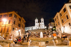 Piazza di Spagna night life and Trinita dei Monti Stock Photo