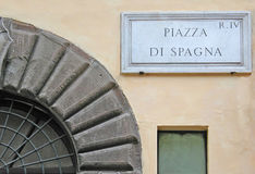 Piazza di Spagna sign - Rome - Italy stock photo
