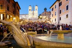 Piazza di Spagna and the Spanish Steps in central Rome at sunset Royalty Free Stock Photos