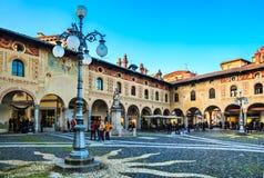Piazza Ducalein Vigevano royaltyfria foton