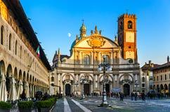 Piazza Ducalein Vigevano arkivbild