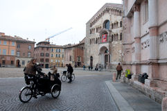 Piazza Duomo with the cathedral in parma Royalty Free Stock Photos