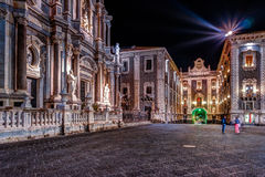 Piazza Duomo with Cathedral of Santa Agatha in Catania in Sicily, Italy Stock Photos