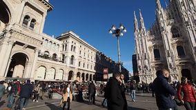 Piazza Duomo Cathedral Square in Milan stock footage