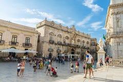 Piazza Duomo em Siracusa em Sicília, Itália fotografia de stock royalty free
