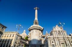 Piazza Duomo i katedra Santa Agatha Catania, Sicily, Włochy Zdjęcie Stock