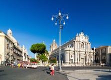 Piazza Duomo i katedra Santa Agatha Catania, Sicily, Włochy Obrazy Royalty Free