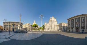 Piazza Duomo i katedra Santa Agatha Catania, Sicily, Włochy Fotografia Stock