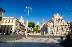 Piazza Duomo i katedra Santa Agatha Catania, Sicily, Włochy Obrazy Stock