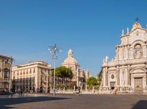 Piazza Duomo lub katedra kwadrat z katedrą duomo w Catania Santa Agatha lub Catania Zdjęcie Stock