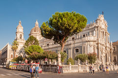 Piazza Duomo lub katedra kwadrat z katedrą Santa Agatha Fotografia Stock