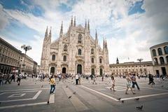 Piazza Duomo, Milaan Stock Afbeelding