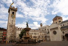 Piazza Duomo with the Torre Civica, Trento, Italy Stock Image
