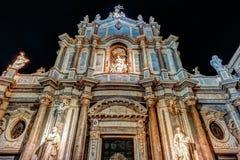 Piazza Duomo z katedrą Santa Agatha w Catania w Sicily, Włochy Obraz Stock
