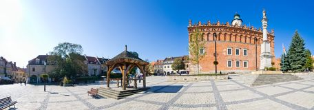 Piazza e municipio in Sandomierz, Polonia Fotografia Stock