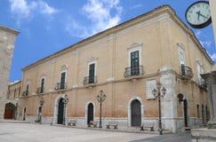 Piazza Episcopio in Troia town. Apulia, Italy stock photos