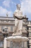 Piazza Erbe , statue of the Madonna, Verona Stock Photo