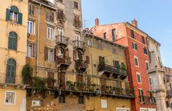 Piazza Erbe in Verona. Beautiful buildings in Piazza Erbe in Verona in Italy Stock Images