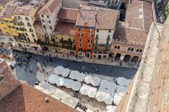Piazza Erbe in Verona. View of the Piazza Piazza Erbe from the Torre dei Lamberti in Verona Stock Photo