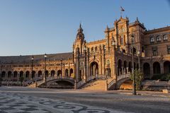 Piazza España in Sevilla, Spanien Stockfotografie