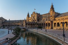 Piazza España in Sevilla, Spanien Lizenzfreies Stockbild