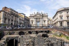 Piazza Estesicoro - Roman Amphitheater, - Catania Royalty Free Stock Photos
