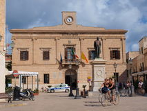 Piazza Europa, Favignana, Sicily, Italy royalty free stock images