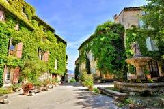 Piazza frondosa in un bello villaggio in Provenza, Francia fotografia stock libera da diritti