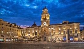 Piazza Garibaldi w wieczór, Parma, Włochy Obraz Stock