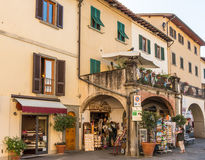 Piazza Giacomo Matteotti. Greve in Chianti Italy - Oct 4, 2016. People browsing in the Piazza Giacomo Matteotti in the city of Grave Royalty Free Stock Image