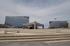 MILAN, ITALY, JUNE 24, 2018 - Piazza Gino Valle Gino Valle Square, home to many modern buildings Stock Photo